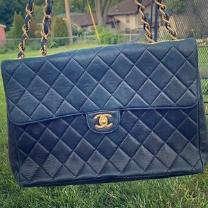 Vintage Chanel Lambskin Quilted Jumbo Single Flap